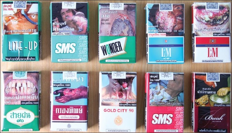 Figure 2: 2010 Thai graphic health warnings occupy 55% of both sides at the top of cigarette packs