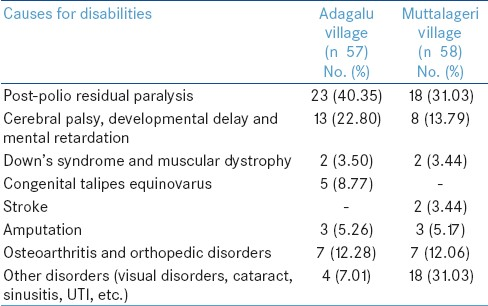 Table 1: Causes of disabilities recorded in Adagalu and Muttalageri villages