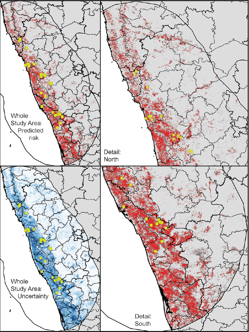 Figure 3: Final niche model predictions of areas suitable for Kyasanur forest disease transmission in Southern India. In three panels (upper left and right, lower right, modeled suitability shown as high (red, <i>E</i> = 20%) and moderate (dark gray, <i>E</i> = 10%). Lower left panel shows uncertainty: higher uncertainty in darker shades of blue, calculated as maximum – minimum across all 10 final replicate analyses.