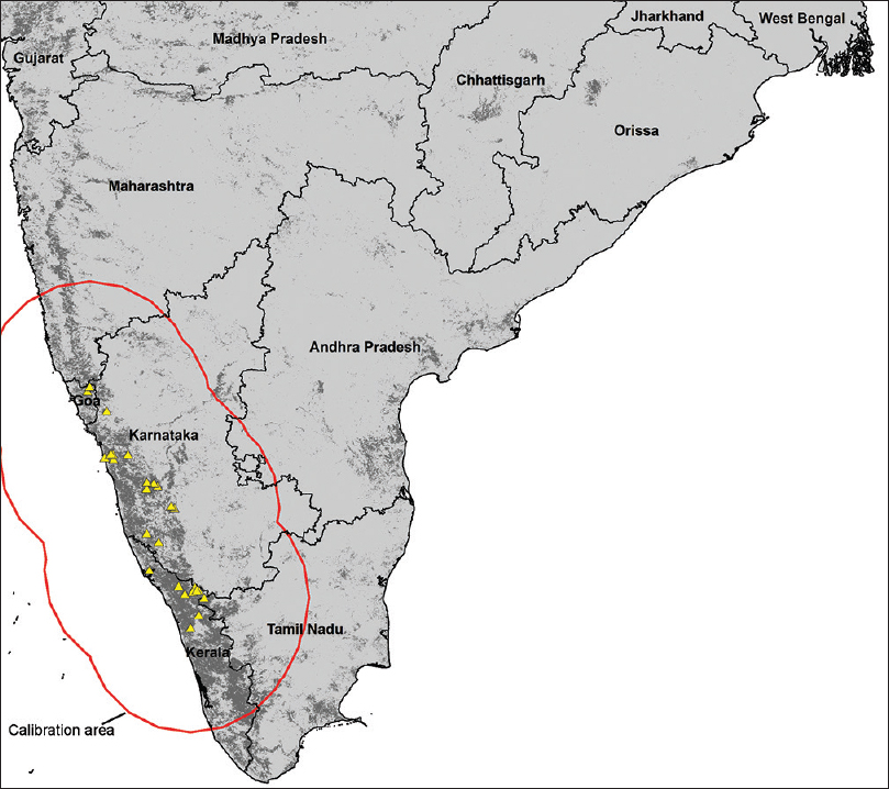 Figure 4: Projection of ecological niche models of risk of transmission of Kyasanur forest disease across peninsular India. Areas identified as at risk shown in dark gray; triangles indicate occurrence data, and the red outline shows the area across which models were calibrated.