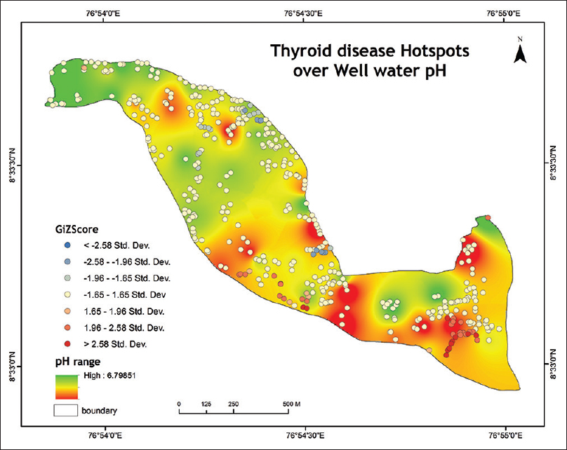 Figure 2: Hotspot map of hypothyroidism and groundwater pH.